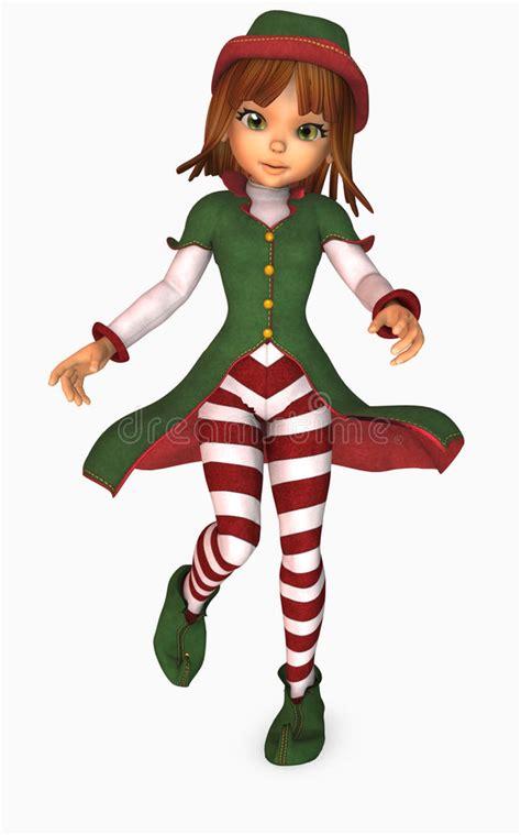 Toon Girl Christmas Elf Stock Illustration Illustration