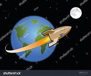 Rocket Ship Leaves Earth Travels Moon Stock Vector ...