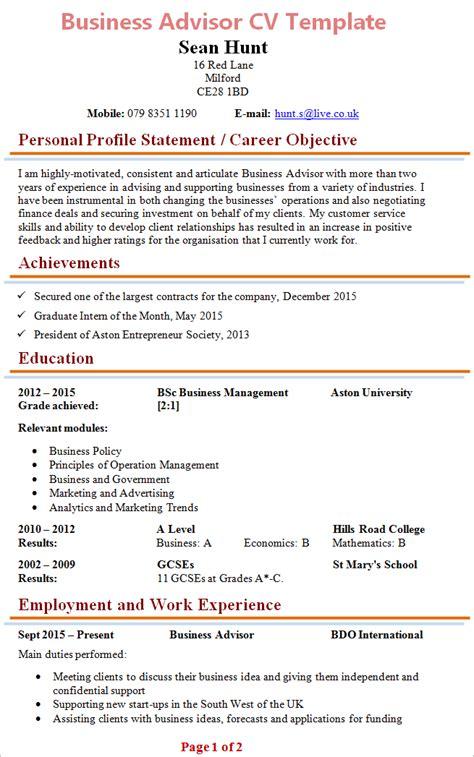 business advisor cv