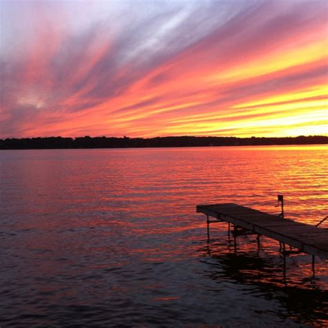 beautiful sunset  lake nagawicka wi cloud obsession