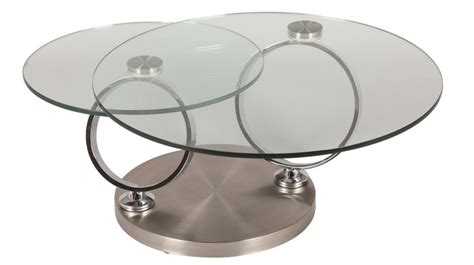 bureau console extensible 2 en 1 table basse ronde en verre trempé et acier brossé pas cher