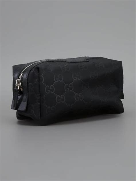 gucci monogram wash bag  black  men lyst