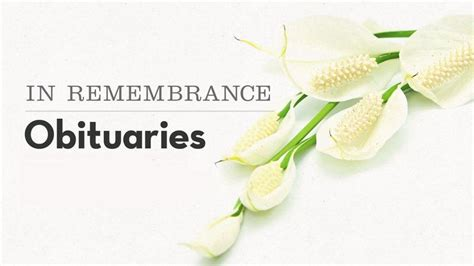 remembrance local obituaries  september obituaries