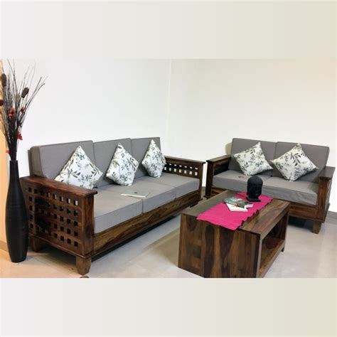 Image Of Sofa Set by Four Square Wooden Sofa Living Room