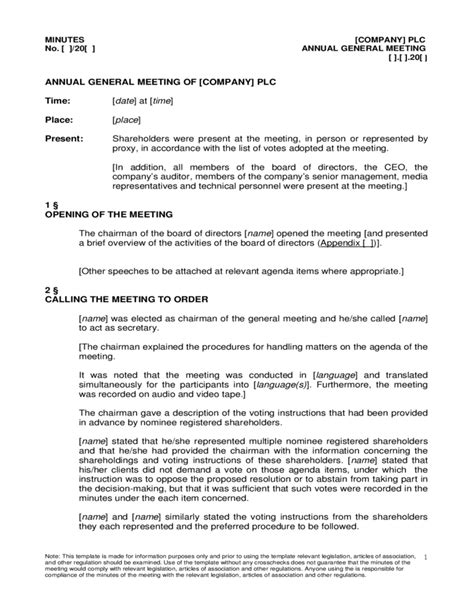 annual board of directors meeting minutes template annual general meeting agenda sle free