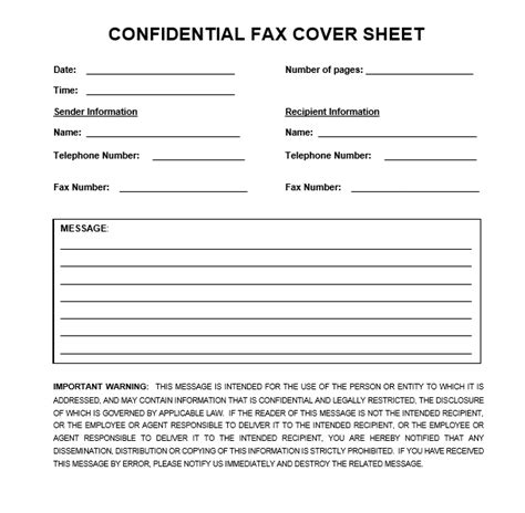 confidential fax cover sheet  word