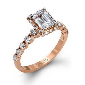 gold emerald cut engagement rings simon g style mr2088 gold emerald cut engagement ring with cut white