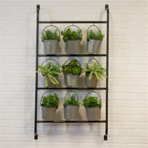 Farmhouse decor planters, wall vases, or containers. Garden Decor - Metal Wall Planter with Hanging Galvanized Buckets - Mocome Decor