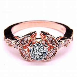 engagement ring floral vintage diamond engagement ring 0 With wedding rings pink gold