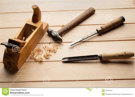 joinery tools  wood table background  stock photo