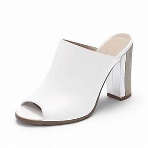 Aquatalia Women S Shoes Size Chart Club Monaco Peeptoe Mule In White Silver White Lyst