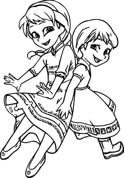 cute girls anna elsa coloring page wecoloringpage