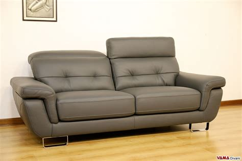 Divano Pelle 250 Cm : Contemporary Leather Sofa With Reclining Headrests