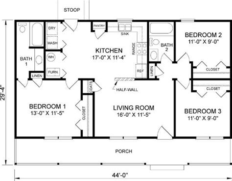 Lovely 3 Bedroom 2 Bath 1 Story House Plans