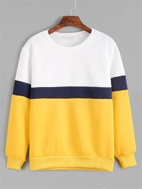 color sweat color block sleeve sweatshirt romwe