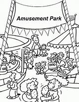 Coloring Amusement Park Pages Fair Carnival Printable County Template Pdf Vacation sketch template