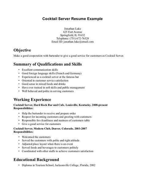 Waitress Resume Exles Objectives by Catering Server Resume Description For Servers Restaurant Cv Objective Cocktail Resume