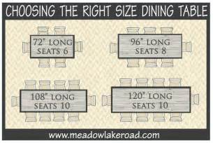 choosing the right size dining table meadow lake road
