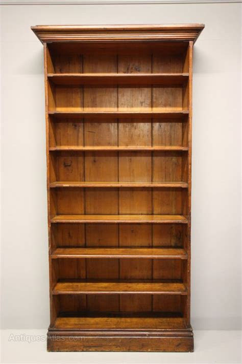 Tall English Antique Pine Open Bookcase  Antiques Atlas