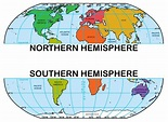 Northern and southern hemisphere map and travel ...