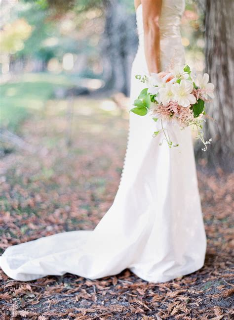 wedding dress outdoor ceremony woods bouquet 1