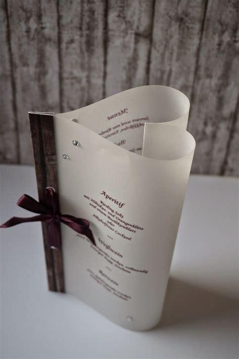 transparentes menue von villa kreativa diy hochzeiten