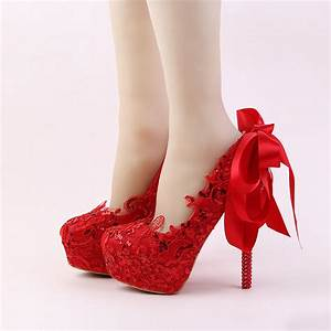 aliexpresscom buy handmade red lace bride shoes fashion With red dress shoes for wedding