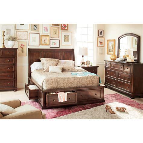 American Signature Bedroom Furniture by Hanover 7 Storage Bedroom Set Cherry