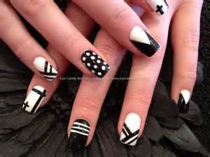 Black and white acrylic nail art : Acrylic overlay with black and white multi design nail art nailart
