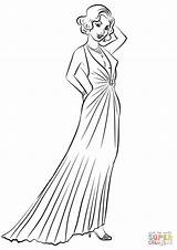 Coloring Pages Dresses Evening 1930s 1930 Printable Drawing Paper sketch template