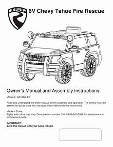 6v Chevy Tahoe Fire Rescue Owner U2019s Manual And Assembly