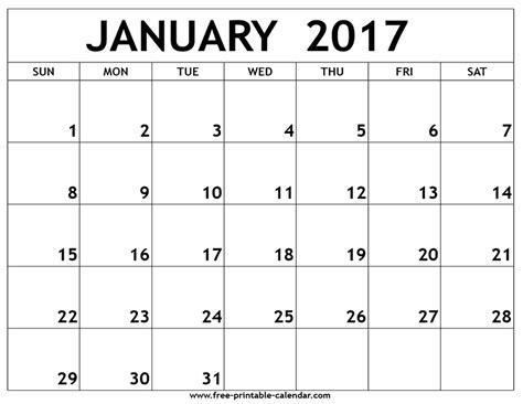 free printable 2017 calendar january 2017 printable calendar free