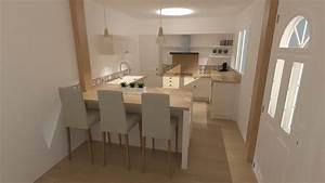 etourdissant cuisine blanc et bois et emejing salle de With salle de bain beige et bois