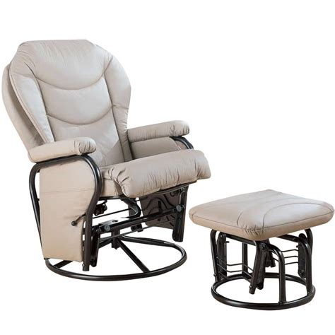 glider recliner with ottoman coaster faux leather recliner glider chair with ottoman in