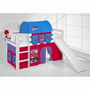 Lit Surélevé Avec Toboggan : lit toboggan spiderman table de lit a roulettes ~ Melissatoandfro.com Idées de Décoration