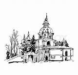 Monastery Sketch Drawing Kyiv Vector London Clipart Cityscape Getdrawings Church Eps Illustration Background Skyline Building Clip sketch template