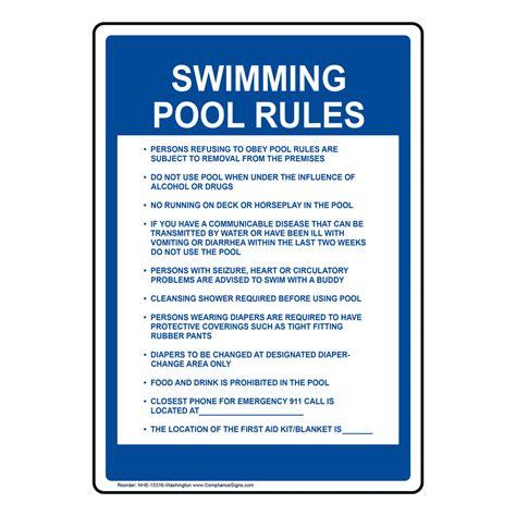 Swimming Pool Rules Sign Nhe15316washington Swimming