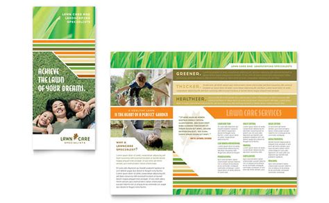 lawn care mowing brochure template design