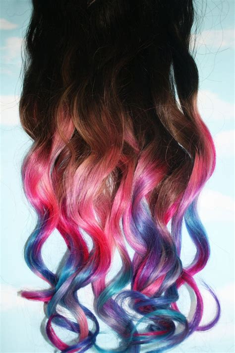 Pastel Tie Dye Tip Extensions Dark Brownblack 22 Inches
