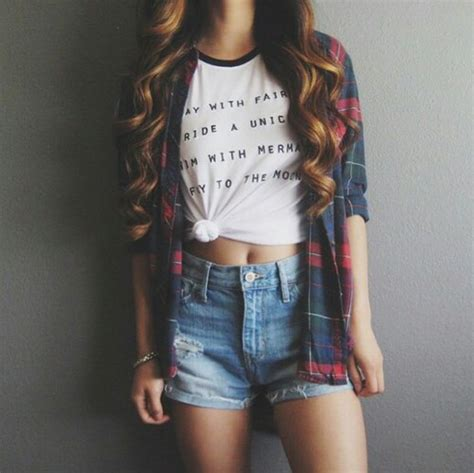 Flannel graphic tee outfits plaid shorts summer outfits ringer tee - image #2898980 by ...