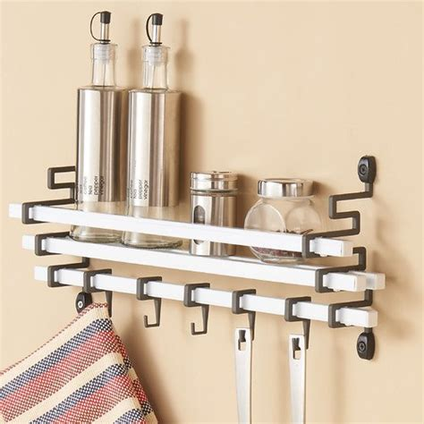 Metal Wall Spice Rack by Danya B Metal Wall Mount Spice Rack With Kitchen Utensil
