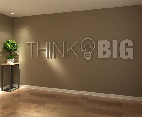 Office Wall Decor by Think Big Office Wall Decor 3d Pvc Typography Etsy