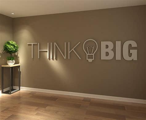 Think Big Office Wall Art Decor 3d Pvc Typography  Etsy
