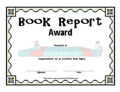 book report award  certificate templates teachers