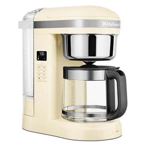A programmable warming plate keeps your coffee at the desired temperature for up sweeten your morning by waking up to the fresh aroma of coffee with caso's coffee one filter coffee maker. KitchenAid 12 Cup Drip Coffee Maker Almond Cream 5KCM1209BAC | Harts of Stur