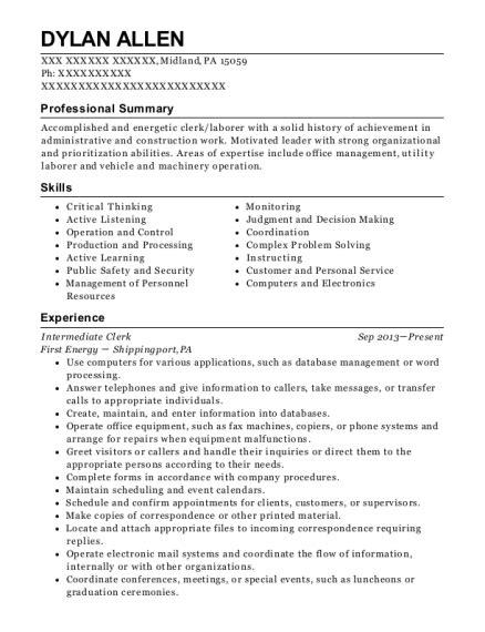 best intermediate clerk resumes resumehelp