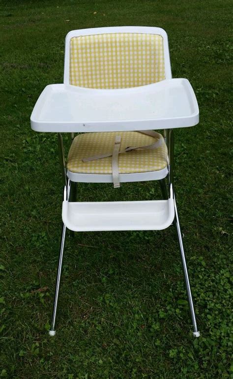 vintage cosco folding high chair vintage cosco metal high chair with chrome checkered