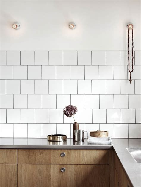 white tiles kitchen decordots wooden kitchen cabinets and concrete floor