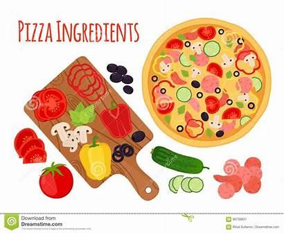 Cartoon Pizza Ingredients Vegetables Board Cutting Mushroom