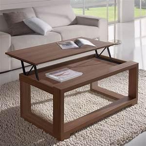 Table De Salon Modulable : table basse relevable noyer cadre noyer ~ Teatrodelosmanantiales.com Idées de Décoration